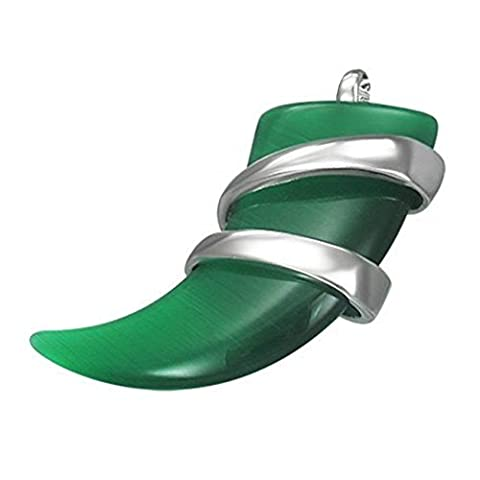 Green Glass Horn Pendant with Stainless Steel Detail and Free