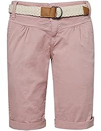 Fresh Made Bermudas de mujer en colores pastel con cinturón trenzado   Elegante pantalón corto estilo chino