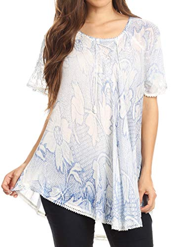 Bobopai Women Short Sleeve Tops Henley Shirts V Neck Blouse Button Up Tunic Casual Tops -