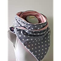 XXL großer Wickelschal Sterne rosa/grau Knopfschal handmade