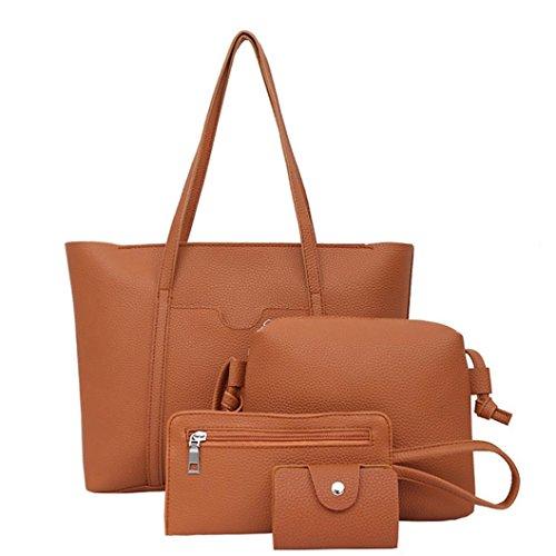 ESAILQ Femmes Set Sac à main quatre sacs d'épaule Quatre Pièces Sac fourre-tout à bandoulière Porte-monnaie