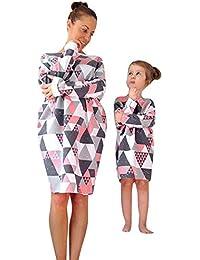 8321eaabd82686 MCYs Mutter und Tochter Mädchen Langarm Match Familie Kleid Herbst  Geometrisch Blumen Strandkleid Minikleid Shirts Beiläufige