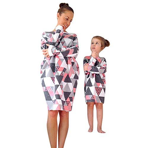 MCYs Mutter und Tochter Mädchen Langarm Match Familie Kleid Herbst Geometrisch Blumen Strandkleid Minikleid Shirts Beiläufige Hemdkleid Partykleid (120, Tochter Kleid) - Designer Blumen-mädchen-kleider