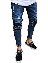 33612cac9c11 HaiDean Pantaloni Jeans Strappati con Uomo Pantaloni da Snapback Casual  Moderna Casual Pantaloni Skinny Vintage Denim