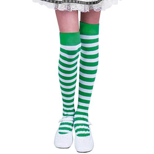 TIFIY St Patrick Tagesgrüner Legging Streifen Klee Strumpf Mode Erwachsener Oberschenkel Socken Damen Socken (one Size, Weiß)