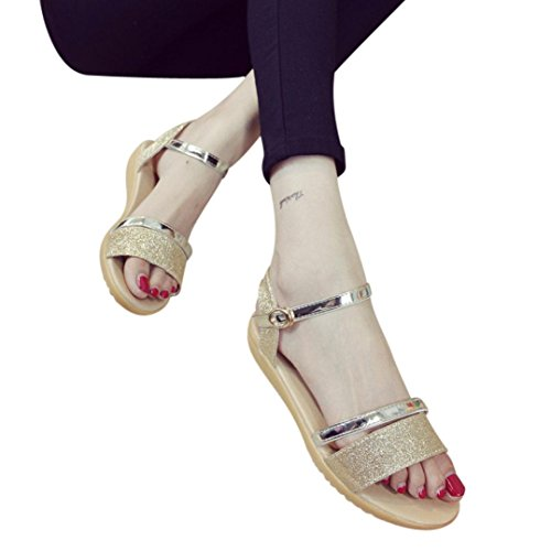 ZARLLE Sandalias Mujer Verano 2018 Sandalias De Verano Tacon De Lentejuelas Talon Plano Antideslizante Zapatos De Playa Sandalias Zapatillas De Interior Al Aire Libre Flip-Flops Chanclas (39, Oro)
