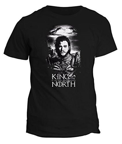 Tshirt Game of Thrones - King of the north - Jon Snow - Stark - Il trono di spade - serie tv - GOT7 - in cotone Nero