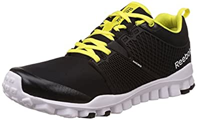 Reebok Men's Quick Tempo Flex Black, Gravel, Solar Green and White Running Shoes - 8 UK