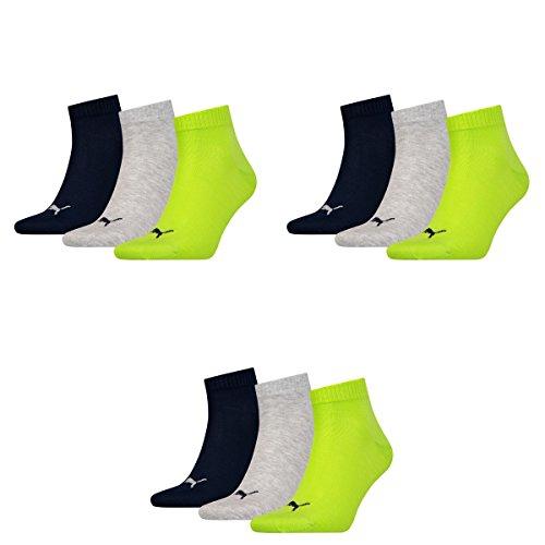 PUMA Puma 9 Paar Unisex Quarter Socken Sneaker Gr. 35-49 für Damen Herren Füßlinge, Socken & Strümpfe:35-38, Farbe:064 - lime punch