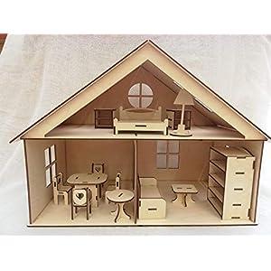 Puppenhaus aus Holz - mit vielen Möbeln - 40 cm - Handarbeit