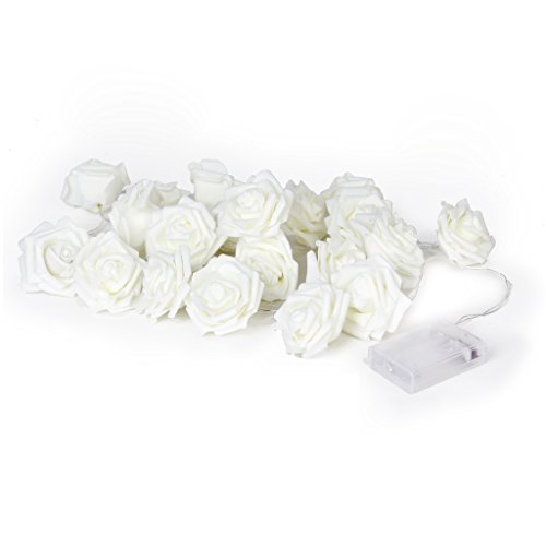 Rose Rallongeant 20 LED Guirlande lumineuse Guirlande lumineuse à piles Décoration de Noël Mariage 220 cm Blanc chaud