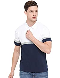 TRUNDZ Stylish Solid Slim-Fit Navy Blue & White Polo T-Shirt For Men/Casual Wear Cotton T-Shirt For Men/Men's...