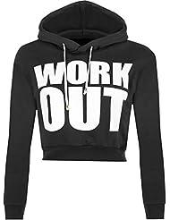 WearAll - Work Out Text drucken Langärmliges Oberteil Damen Kurze Freigestellte Hoodie - 3 Farben - Größen 36-42