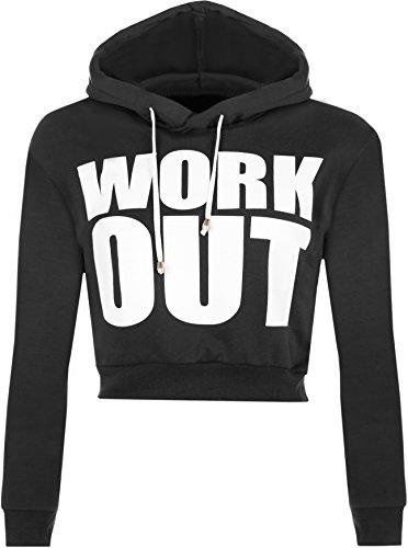 """WearAll - """"Work Out"""" texte Imprimer Haut à manches longues femmes court recadrée Hoodie - Noir - 40-42 WearAll"""