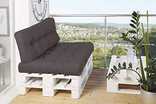 Palettenkissen-Set Sitzkissen&Rückenkissen für Europaletten Palettenauflage (Grau)