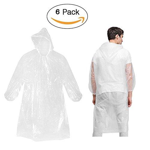 Regenponcho mit Kaputze (Transparent 6 pcs), Minleer Einweg PE Wasserdicht Regenmantel mit Cap Wasserdicht Atmungsaktiv Wandern Regencape Für Outdoor camping