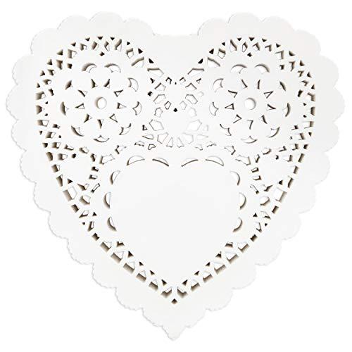 Spitzendeckchen, Herzform, Papier, Weiß, 250 Stück