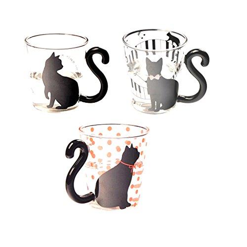 MagiDeal 3 Piezas Taza de Té Con Leche Café Copa de Vidrio Forma de Gatito Gato Linda Creativa