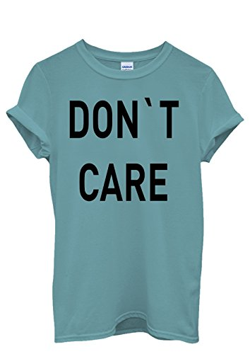 Do Not Care WTF Cool Funny Men Women Damen Herren Unisex Top T Shirt Licht Blau