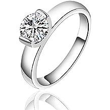 Anillo de compromiso de plata de ley 925 joyliveCY, para mujer, diseño clásico,