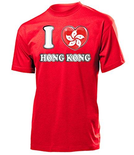 I Love Hong Kong 5641 Fussball Fanshirt Fan Shirt Tshirt Fanartikel Artikel Männer Herren T-Shirts Rot XL
