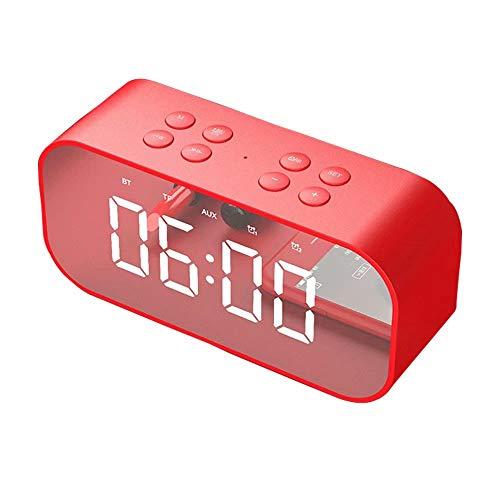 SPA Tool LED-USB-Digital-Wecker, für Schlafzimmer, Schreibtisch, Nachttisch, Jugendliche-Wecker, Nachttisch, Nachttisch, Spiegel, modernes Zahlen-Design, Schlummerfunktion, Helligkeit verstellbar rot
