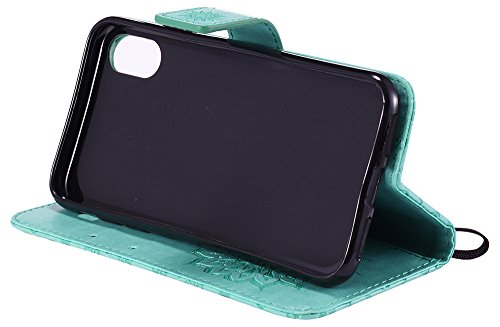 Coque Iphone X Edition, Iphone X Case, Iphone X Coque, Iphone X Protection, Coque Iphone 10 euros, Nnopbeclik® Mode Fine Folio Wallet/Portefeuille en Bonne Qualité Ultra Mince PU Cuir Etui (5.8 Pouces vert