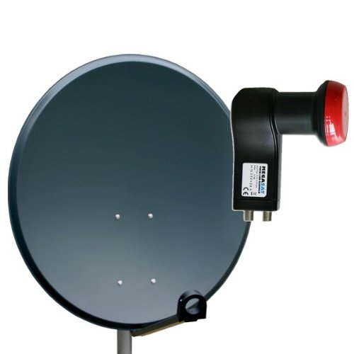 Antenne 60cm Sat Schüssel aus ALU FullHD HDTV Satelliten Camping Spiegel 60 cm Anthrazit + Megasat Twin LNB 0,1dB