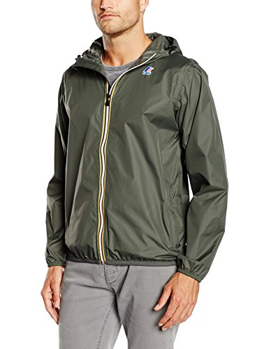 K-way vrai 3.0 claude, giacca impermeabile uomo, verde (torba), x-large (taglia produttore: xl)
