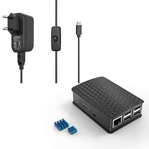 NorthPada Raspberry Pi 3 Model B B+ 5V 3A Netzteil Adapter + Gehäuse Case + 2 x Aluminium Kühlkörper Mit Micro USB 120CM ON / OFF Schalter Kabel