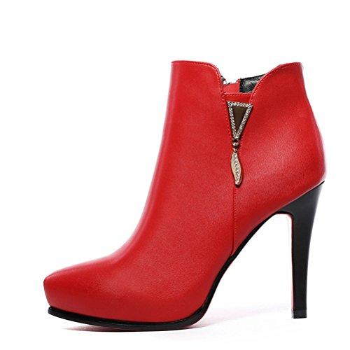 Dão Senhoras Inverno Rendas Monocromático Botas Estiletes Quente Curto Zipper De Pelúcia Simples Sapatos Elegantes Vermelhas
