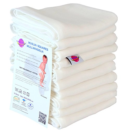 Babymajawelt 8080 Mulltücher, Spucktücher, Putztücher kochfest bis 90°C, 80 x 80 cm, weiß (10 Stück)
