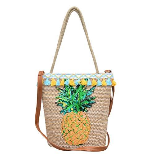 Stroh gewebte Handtasche Glitter Ananas Decals Einkaufstasche Korb Crossbody Umhängetasche für Summer Beach Luau Party Lieferanten -