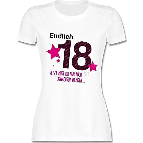 Geburtstag - Endlich 18 - S - Weiß - L191 - tailliertes Premium T-Shirt mit Rundhalsausschnitt für Damen