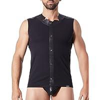 Look me LM807–77blkm–Camiseta tirantes negro hombre satinada con bandas estilo piel/dos con transparencia