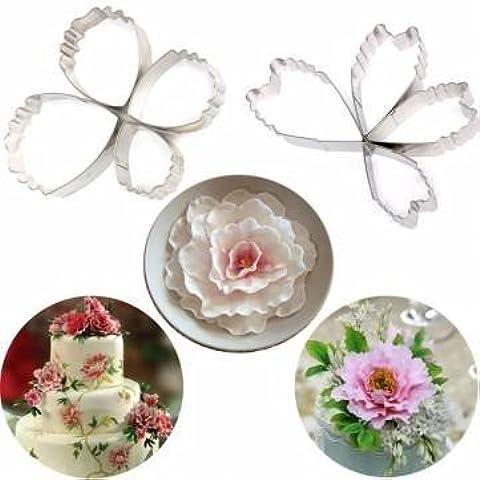 4pcs acero inoxidable flores pétalos para galletas molde para galletas decoración de pasteles herramientas