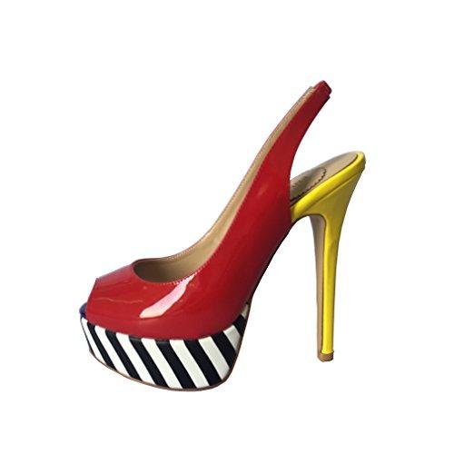 ENMAYER Femmes Fashion Sandale Cuirs Peep Tour Toe Stiletto Super Talons de Chaussures Plate Forme Datant de Sandales Sexy de Boîte de Nuit Rouge