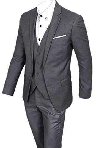 SANKE Männer Slim Fit Tuxedo Zwei Knopf 3pc Solid Notch Revers Anzug (Prom Männer Tuxedo)