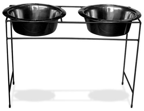 Platinum Pets Modern Double Diner Stand with Two 53 Ounce Rimmed Bowls, Black Chrome by Platinum Pets, Inc (English Manual) -