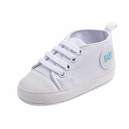 Scarpine Primi Passi,Scarpe di Tela Scivolare,YanHoo Sneaker delle Scarpe morbide Antiscivolo della Tela Solida delle Neonate della neonata del Neonato (13.5, Bianco)