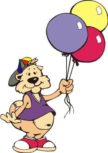 T-Shirt E636 Schönes T-Shirt mit farbigem Brustaufdruck - Logo / Grafik - Comic Design - lustige Katze mit bunter Mütze und Ballons Schwarz