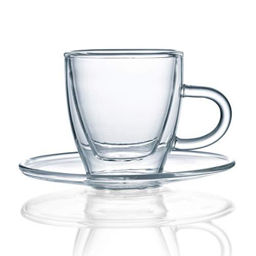 Green Spirit Premium Espresso Tassen Set 12-TLG. Glas doppelwandig Mokka Espressotasse Untertasse Füllmenge 80ml Green Espresso-tasse