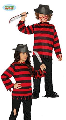 Guirca Kostüm Kinder Nightmare Freddy Krueger 10/12 Jahre, Farbe Schwarz und Rot, 87762