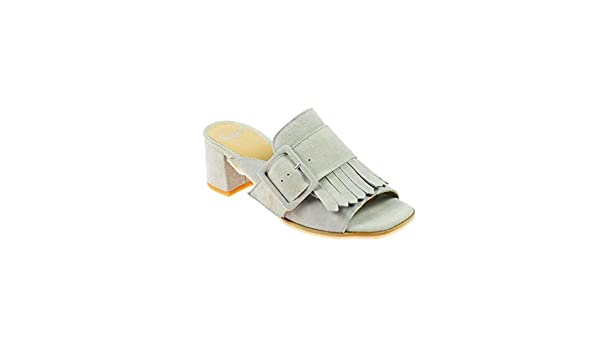 Perlato Damen Sandale Leder Blau Silber, Schuhgröße:41