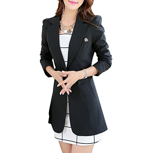 Aisuper Womens Blazer Long Slim One Button Jacket Suit Outerwear Large Black
