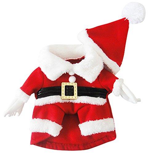 AIYUE® Hund Kostüm Weihnachtsmann Santa Claus Cosplay Kostüm winter Pet Jacke Mantel Haustier Jumper Coat Pullover + Weihnachtsmütze Set