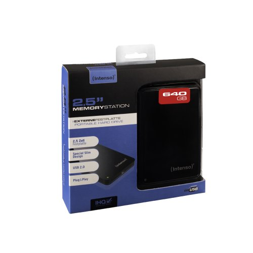 Intenso Memory Station 640GB externe Festplatte (6,4 cm (2,5 Zoll), USB-Y Anschluss) schwarz