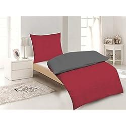 4-Teilige hochwertige Renforcé-Bettwäsche UNI-WENDE in anthrazit/rot 2x 135x200 Bettbezug + 2x 80x80 Kissenbezug , 100% Baumwolle (Anthrazit/Rot)
