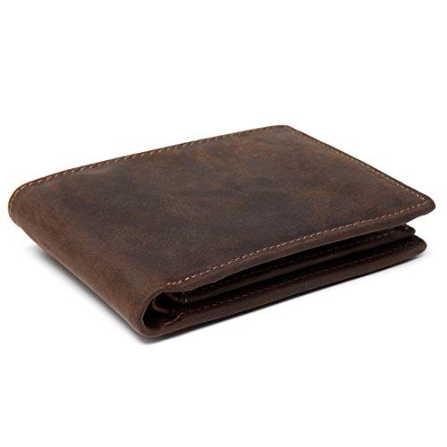 RFID BLOCKING Herren Geldbörse echtes Leder Cowboy Bifold Brieftasche Braun