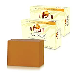 IHA Lumiderm Natural - Ayurvedic Soap With Turmeric & Saffron (100% Herbal, No harmful Chemical, Pack of 2x100gm), 200gm